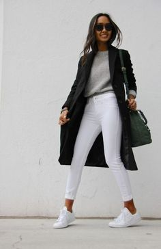 Women Jeans Outfit Elasticated Trousers Ladies Casual Salwar Suit Smart And Casual Lycra Trousers Black Straight Leg Trousers Womens Jeans And Heels Outfit – gladiolusrlily Blazer Outfits Casual, Outfit Jeans, White Jeans Winter Outfit, Casual Jeans, White Coat Outfit, White Pants, Jeans Style, Grey Skinny Jeans Outfit, Jeans And Sneakers Outfit