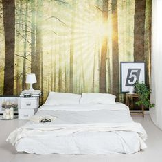 Bos fotobehang in slaapkamer | Slaapkamer ideeën