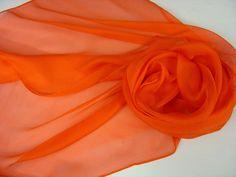 Seidenschal 180x45cm karotte Stola Tissu de gaze   von Textilkreativhof auf DaWanda.com