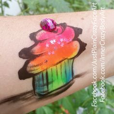 Favorite Dessert  Neon rainbow cupcake Face painting face paint makeup art  Artist - Marie Sulcoski