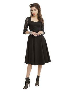Black Lace Sleeve Swing Dress, BLACK
