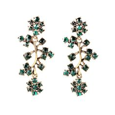 Women Ladies Fashion Earring Accessories Wholesale Shiny Cheap Branches Rhinestone Earring Green Gray Clear #Affiliate