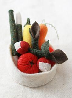 Upcycled handmade wool vegetable play set