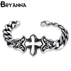 BRYANNA  2017 Vintage Charm stainless steel Bracelets For Men Bracelets & Bangles Pulseras DIY Jewelry bracciali uomo GMYH8033