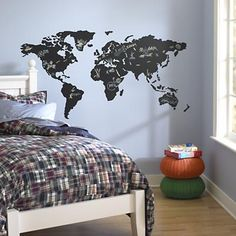 Kids' Wall Decals: World Map Chalkboard Decal Land of Nod