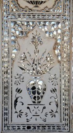 Decorative-detail in the Amber Fort .... built by Raja Man Singh I, in1592, Jaipur, Rajasthan, India.