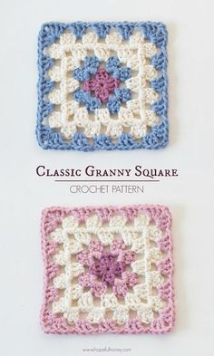 Classic Granny Square - Free Crochet Pattern I first learned how to crochet at the young age of nine when my mum taught me how to make a simple granny square, and it was love at first sight.Granny squares are such an iconic part of crochet histo Motifs Granny Square, Granny Square Crochet Pattern, Crochet Squares, Crochet Blanket Patterns, Crochet Motif, Crochet Baby, Free Crochet, Knit Crochet, Knitting Patterns