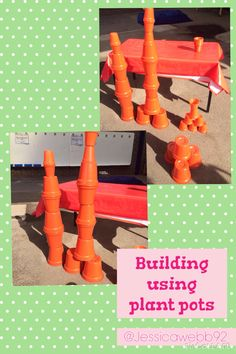 Constructing using plant pots outside. EYFS