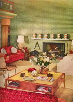 1952 Mid Century Modern Living Room #retrohome #retrorenovation  #retrofurniture Http://. 1950s Decor1950s HouseColor ...