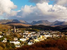 Picture of the view over the town of Clifden and the Twelve Bens, Connemara, Ireland
