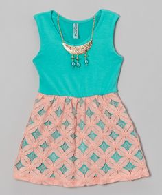Love this Teal & Coral Dress & Necklace - Toddler & Girls by Maya Fashion on #zulily! #zulilyfinds