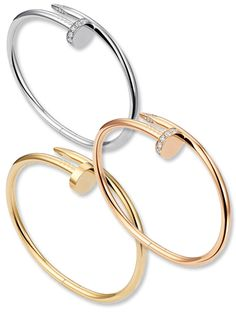 """Cartier's got a new """"it"""" bracelet! The luxury jewelry company is relaunching the Juste un Clou (translation: just a nail), an astonishing design by Aldo Cipullo—the same visionary behind Cartier's instantly iconic Love bracelet. Cartier Nail Bracelet, Cartier Jewelry, Diamond Bracelets, Love Bracelets, Bangles, I Love Jewelry, Jewelry Box, Jewelry Watches, Jewelry Accessories"""