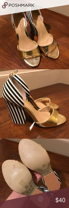 Anthropologie Rafaela Booz gold pumps Raphaella Booz gold/b&w stripe pumps Anthropologie Shoes Heels