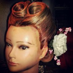 Finally did a victory-roll.(Nevermind the color on her face). Victory Roll Hair, Victory Rolls, Roll Hairstyle, Victorious, Ear, My Style, Color, Fashion, Moda