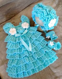 Baby Holiday Dress, Hat and Booties Set, Crochet Baby Dress Set, Baby Layers Dress Set.