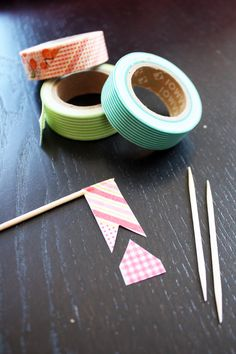 Washi Tape Flags to decorate cakes/cupcakes