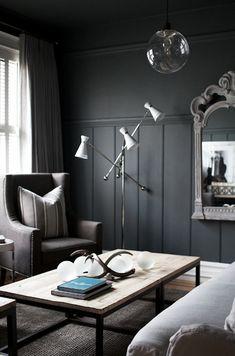 Love this dark living room.