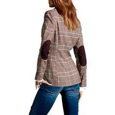 c9a343bcf British Style Slim Classic Small Plaid Suit Patch Elbow Lapel Women Su –  geekbuyig