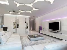plafonniers de design ultra moderne dans le salon blanc avec un meuble TV décoré d'un ruban led en lilas