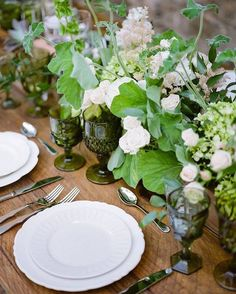 Green vintage glasses from Set + greenery and floral decor by Teresa Sena Design - Chris J Evans Photography