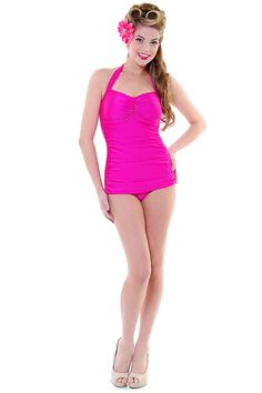 Vintage Inspired Swimsuit 50's Style Fuschia Halter One Piece - Unique Vintage - Cocktail, Pinup, Holiday & Prom Dresses.