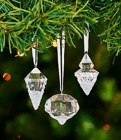 swarovski crystal ice and snow ornaments set of 3 dillards snow ornaments ornament tree