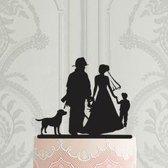 Wedding cake topper with pets, Bride and groom silhouette cake topper, Wedding decor, Cake decoration - Cake Decorating Cupcake Ideen Weding Decoration, Wedding Cake Decorations, Wedding Cake Toppers, Silhouette Cake, Personalized Cake Toppers, Custom Cake Toppers, Wedding Art, Our Wedding, Wedding Decor