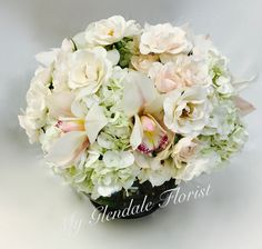All White Spray Rose & Orchids