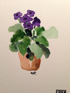 Violets Watercolor Card by gardenblooms on Etsy