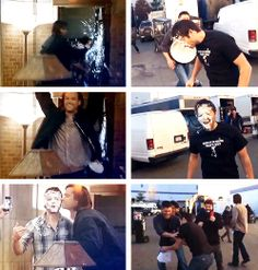 [gifset] Mishas' individual pie in the face experience from both Jared and Jensen. #Misha #Jared #Jensen