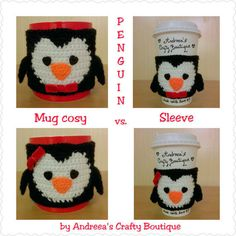 Crochet Penguin Coffee Cup Sleeve Travel Mug Sleeve OR Penguin Mug Cozy, Reusable Coffee Sleeve, Reu Penguin Mug, Crochet Penguin, Crochet Coffee Cozy, Knit Crochet, Crochet Hats, Coffee Cup Sleeves, Mug Cozy, Crochet Patterns, Crochet Ideas