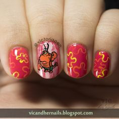 Vic and Her Nails: #31DC2014 Day 21: Inspired by A Color...OPI I Eat Mainely Lobster with Nail Art inspired by its name,  Larry The Lobster from Spongebob Squarepants series