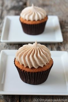 Pumpkin cupcakes with cinnamon cream cheese frosting. Perfect for fall. I have no words for these but AMAZING.