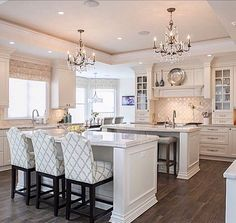 Love The Chandeliers Great Idea To Bring Clean Elegance To The Fascinating Kitchen Chandeliers Design Inspiration