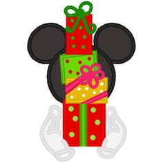 CHRISTMAS MICKEY MOUSE AND GIFTS CLIP ART