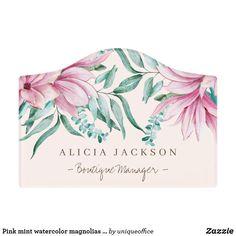 Shop Pink mint watercolor magnolias boutique manager door sign created by uniqueoffice. Unique Office Supplies, Magnolia Boutique, Foam Adhesive, Magnolia Flower, Dry Erase Board, Room Signs, Magnolias, Acrylic Material, Make Your Mark