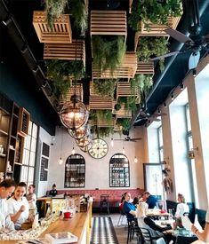 17 Unique Ceiling Design Ideas for Interior Design - Unikavaev Rustic Restaurant Interior, Outdoor Restaurant Design, Deco Restaurant, Interior Ceiling Design, Cafe Interior Design, Cafe Design, Bar Pub, Cafe Bar, Wooden Cafe