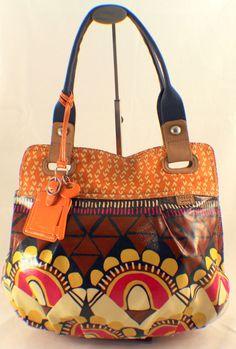 Fossil Key Per Large Coated Canvas Handbag Shoulder Bag Shopper Tote $125.00