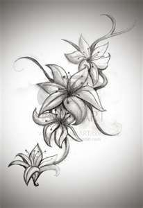 This is the original drawing I pulled for my forearm piece :) I have this on my arm (in full color, each flower a different color, representing a different family member of mine) | cute-tattoo