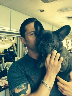 Twice as nice...Actor Tom Hardy with adorable puppy