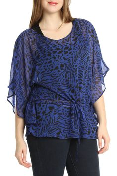 Dex Short Sleeve Top With Back Zipper In Royal And Black - Beyond the Rack