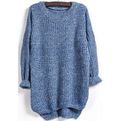 Dipped Hem Loose Knit Blue Sweater (72 ILS) ❤ liked on Polyvore featuring tops, sweaters, romwe, knit sweater, loose sweater, blue top, loose tops and cut loose tops