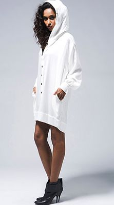 63a3aaa2662 White Button Up Hoodie Dress Hooded Sweater  UNIQUE WOMENS FASHION ...