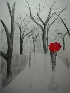 Desenhos a carvão de Pessoas | Lápis e desenho de carvão vegetal com o guarda-chuva vermelho pintado em óleo.