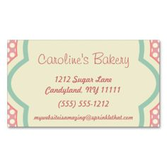 Baking and Bakery Boutique, Pink Polka Dot Business Cards. Make your own business card with this great design. All you need is to add your info to this template. Click the image to try it out!