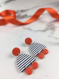 Stripy earrings – Polymer clay earrings – Breton stripes – funky statement earrings – Navy Blue orange earrings – dangle earrings – Hobbies paining body for kids and adult Crea Fimo, Fimo Clay, Polymer Clay Crafts, Handmade Polymer Clay, Clay Beads, Polymer Clay Jewelry, Polymer Beads, Diy Clay Earrings, Metal Clay Jewelry