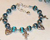 Christian Love Cross and Blue Bead Bracelet