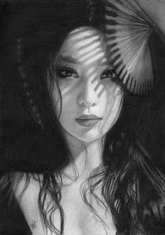 Geisha by Nat Morley - Geisha Drawing - Geisha Fine Art Prints and ...