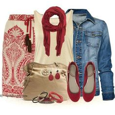 Love the red, but it think the flats or scarf should be turquoise