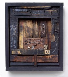 Hannelore Baron Box, Wood, paper, ink, chalk and acrylic. Found Object Art, Found Art, Collages, Collage Art, Organic Art, Mixed Media Artwork, Monochrom, Assemblage Art, Wood Sculpture